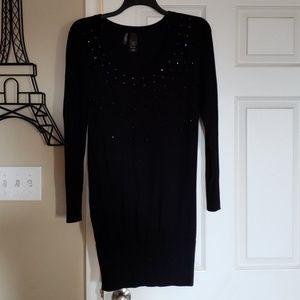 Bisou Bisou black studded sweater dress
